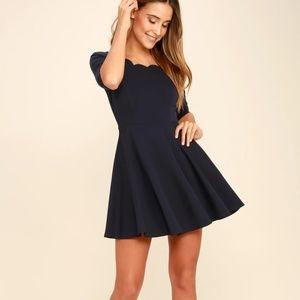 Lulu's Navy Scalloped Dress